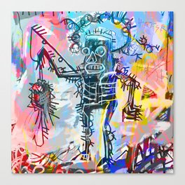 A digitally and roughly vectorised Jean Michel Basquiat Canvas Print