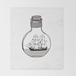 The ship in the glass bulb . Artwork Throw Blanket