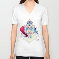 snowboard V-neck T-shirts featuring Snowboard Yeti by garciarts