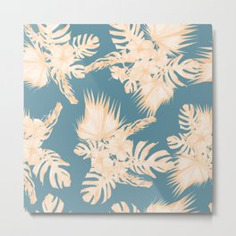 Island Vacation Hibiscus Palm Coral Teal Blue Metal Print