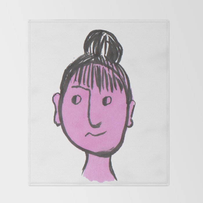 """Auntie Rosie"" woman with a bun Throw Blanket"