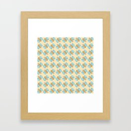 Cute Bumblebees Pattern over Yellow Background Framed Art Print