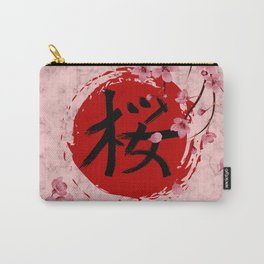 Blooming Sakura branches and red Sun Carry-All Pouch