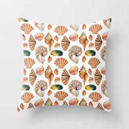 Coral pink orange watercolor nautical seashells Throw Pillow