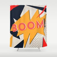 comic Shower Curtains featuring COMIC BOOM by Allyson Johnson
