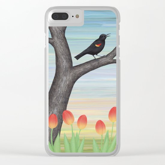 red winged blackbird and tulips Clear iPhone Case