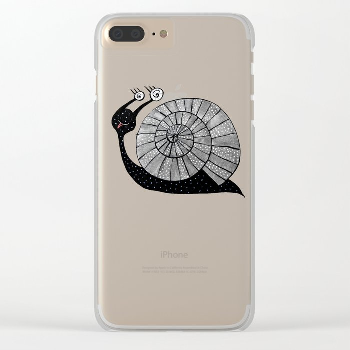 Cartoon Snail With Spiral Eyes Clear iPhone Case