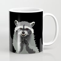 racoon Mugs featuring Diabolical Racoon by Elise Cayouette