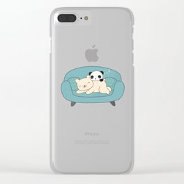 Kawaii Lazy Panda and Polar Bear Clear iPhone Case