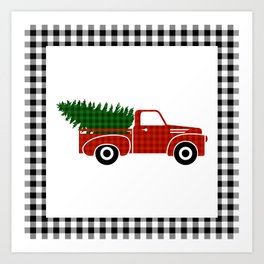 Black and White Buffalo Check Gingham Plaid framed Christmas Truck with Tree Art Print