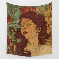 mucha Wall Tapestries featuring Nouveau Bliss by Faryn Hughes
