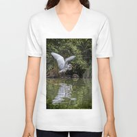hunting V-neck T-shirts featuring Egret Hunting by Chris Lord