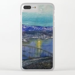 A Bridge over a River under Moonlight Clear iPhone Case