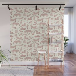 Blush Safari / Wild Cats, Monstera and Birds Wall Mural
