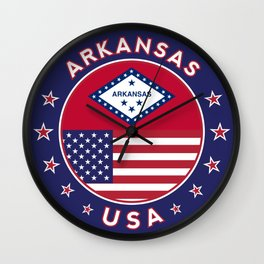 Arkansas, Arkansas t-shirt, Arkansas sticker, circle, Arkansas flag, white bg Wall Clock