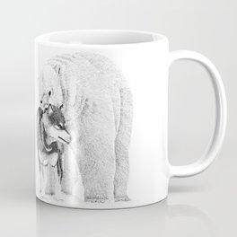 Eskimo dog and Polar bear pointillism illustration Coffee Mug