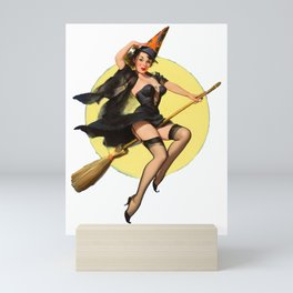 Witch Pinup Girl Halloween Vintage Pin up Mini Art Print
