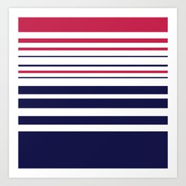 Striped red blue white Art Print
