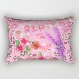 RIP 2 ME - Glitchy Floral Wreath Drawing Rectangular Pillow