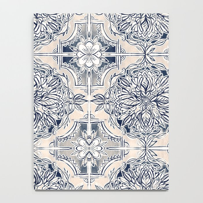 Brush and Ink Watercolor Pattern in Indigo and Cream Notebook