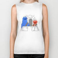 elmo Biker Tanks featuring Han Elmo and the Wookie Monster by NathanJoyce