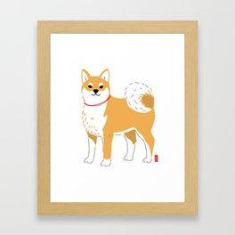 Minimal Shiba illustration Framed Art Print