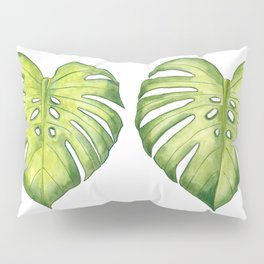 Two monstera leaves in watercolor Pillow Sham