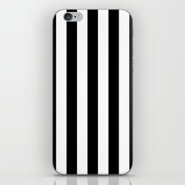 Solid Black and White Wide Vertical Cabana Tent Stripe iPhone Skin