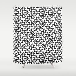 Black graphic squiggle tiles, abstract shapes, ethno-inspired Shower Curtain