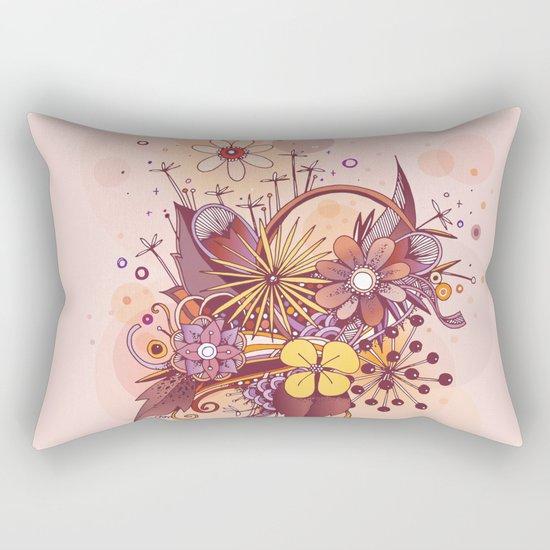 Zentangle, summer rose pink, purple doodle Rectangular Pillow