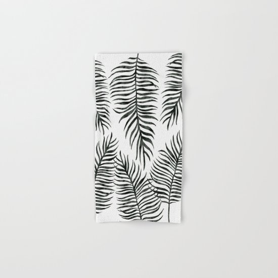 Black Fern Pattern Hand & Bath Towel