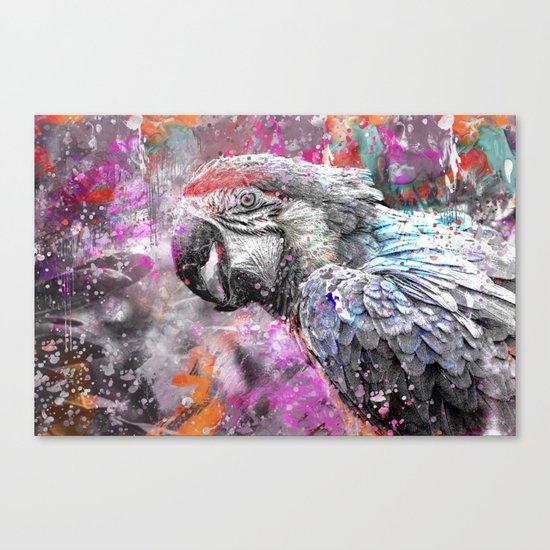 artsy parrot mixed media art Canvas Print