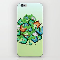 Butterflies on a branch with spring flowers iPhone & iPod Skin