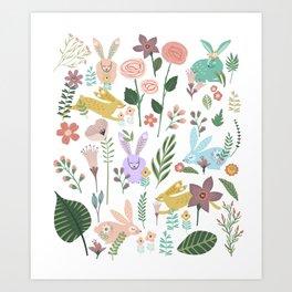 Springtime In The Bunny Garden Of Floral Delights Art Print