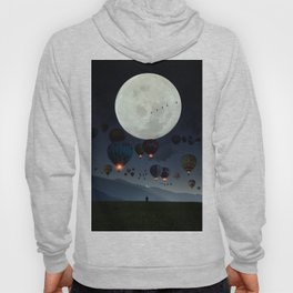 Human facing the moon and balloons by GEN Z Hoody