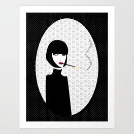 Dark lady smoking Art Print