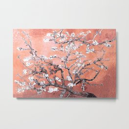 Van Gogh Almond Blossoms : Deep Peach Metal Print