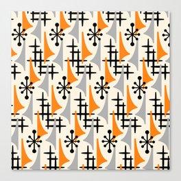Mid Century Modern Atomic Wing Composition Orange & Gray Canvas Print