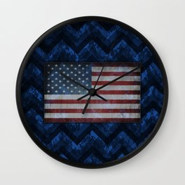 Cobalt Blue Digital Camo Chevrons with American Flag Wall Clock