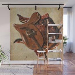 Three vintage horse saddles Wall Mural