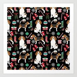 Beagle christmas gift wrap pillow phone case cute beagle dog design Art Print