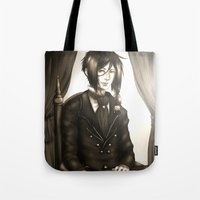 kuroshitsuji Tote Bags featuring Sebastian Michaelis - The Watchdog's Butler by Lalasosu2
