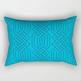 Ornate Aqua Moroccan Geometric Pattern Rectangular Pillow