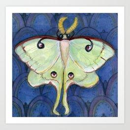 Deco Luna, Art Deco Inspired Luna Moth Art Print