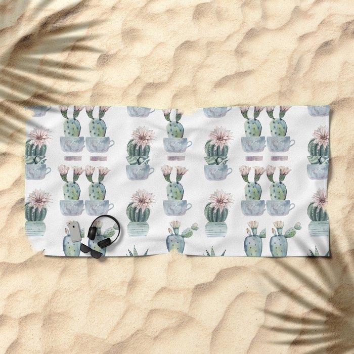 Girly Rose Cactus Pots Beach Towel