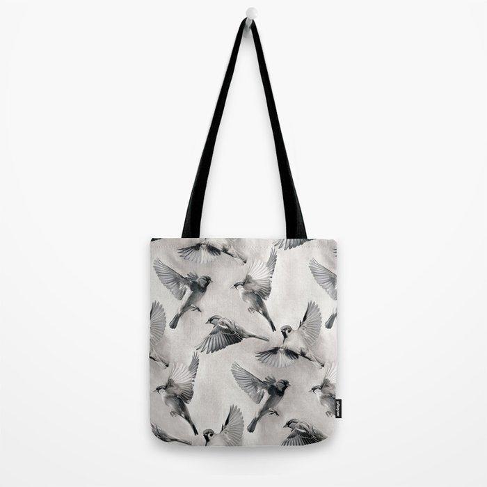 Sparrow Flight - monochrome Tote Bag