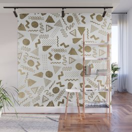 Retro abstract geometrical faux gold white 80'spattern Wall Mural