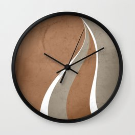 Contemporary Abstract Swerves in Cinnamon and Taupe Wall Clock