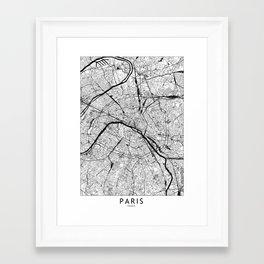 Paris Black and White Map Framed Art Print