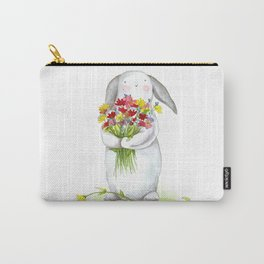 Flower Bunny (nursery art, art for children) Carry-All Pouch